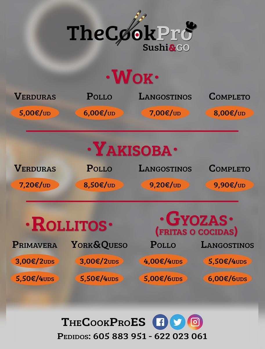 Ofrecemos una extensa carta donde destaca el sushi en prácticamente todas sus variedades y con sabores propios de TheCookPro hasta los más clásicos. Buscamos fusionar la gastronomía japonesa y la mediterránea. También tenemos otras especialidades japonesas como wok o yakisoba, así como bebidas de importación y postres japoneses entre los que destacan nuestros riquísimos mochis artesanos rellenos de mousse de oreo, chocolate blanco, tiramisú o vainilla.
