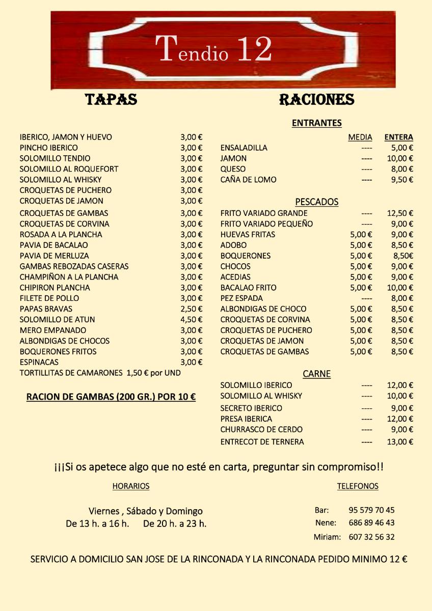 Somos un bar especialistas en mariscos, chacinas, carnes y pescados frescos. Realizamos reparto a domicilio a La Rinconada y San José de la Rinconada con un pedido mínimo de 12 euros.